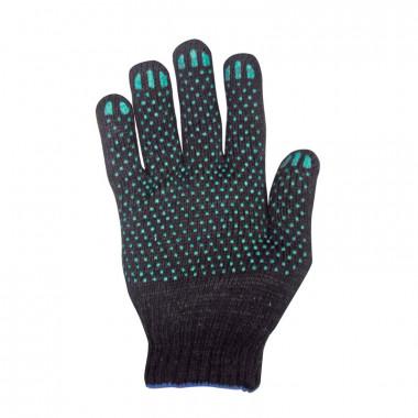 Перчатки вязаные х/б 5 ниток с ПВХ черные