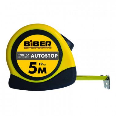 Рулетка Biber 40073 Autostop обрезиненный корпус 5 м/25 мм