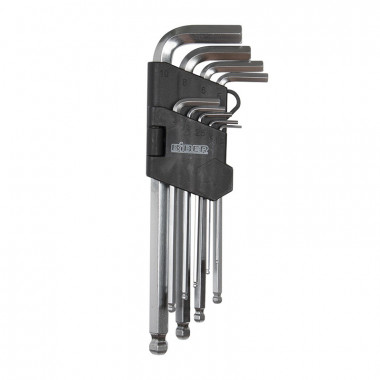 Набор инбусовых средних ключей с шариком Biber 90505 CrV, 1.5-10 мм 9 шт.